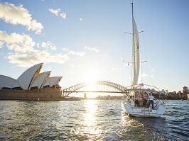 Friends sailing in Sydney Harbour, Sydney