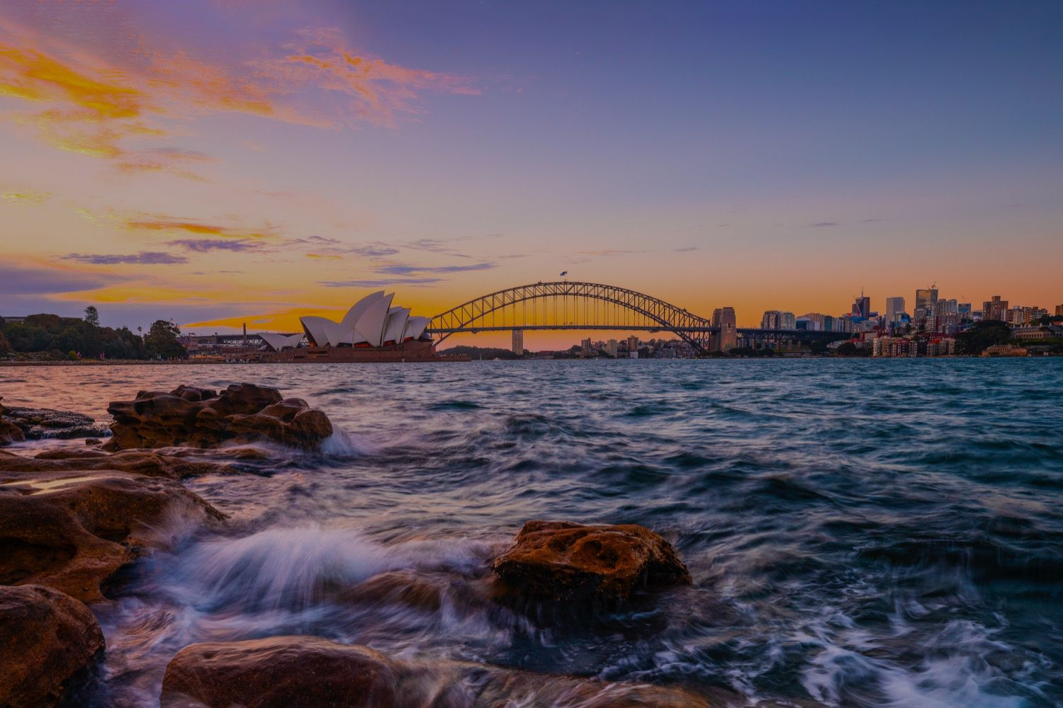 Sun setting over Sydney Harbour in Summer