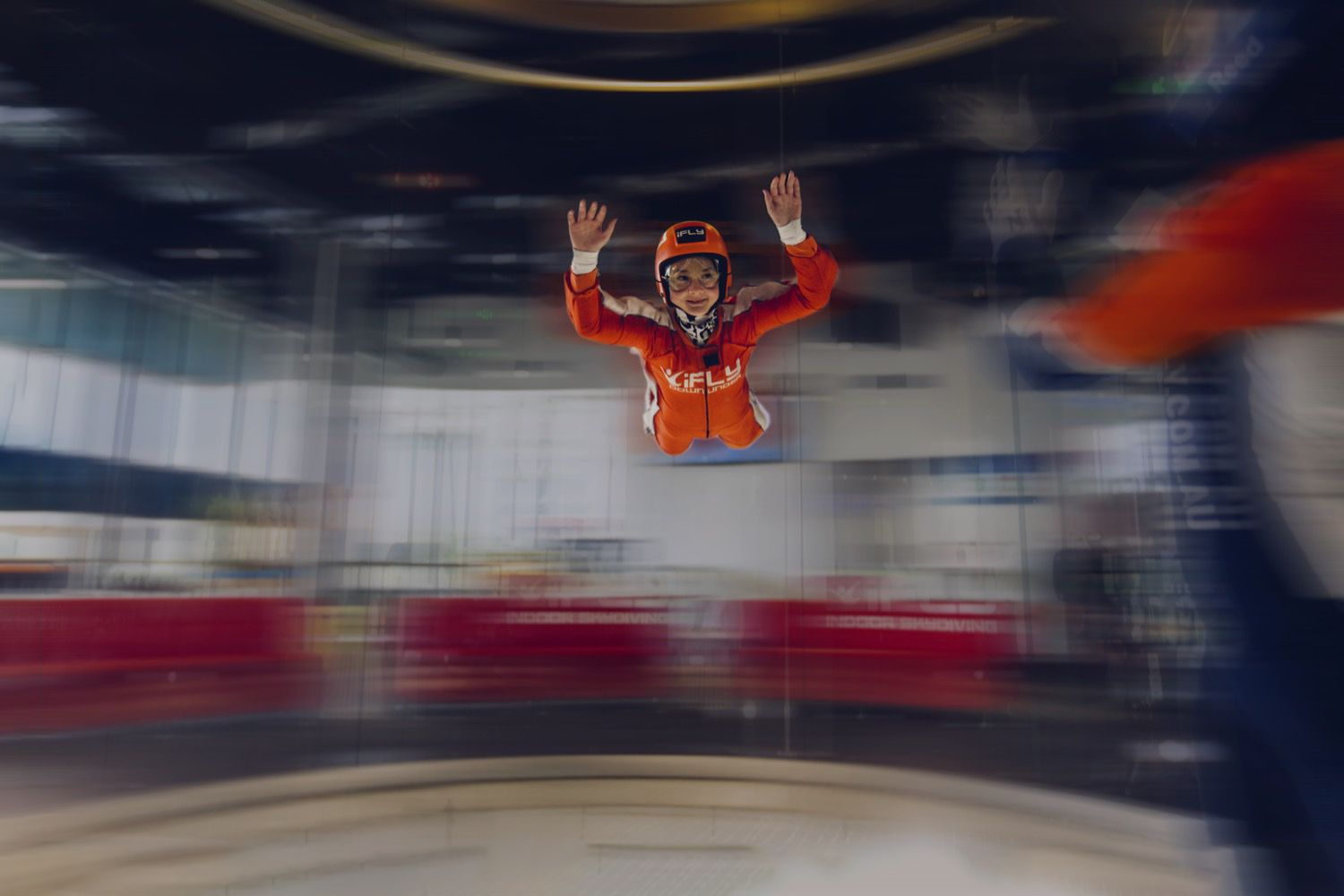 Child enjoying an indoor skydiving experience at iFly Downunder, Penrith in Sydney's Western Suburbs