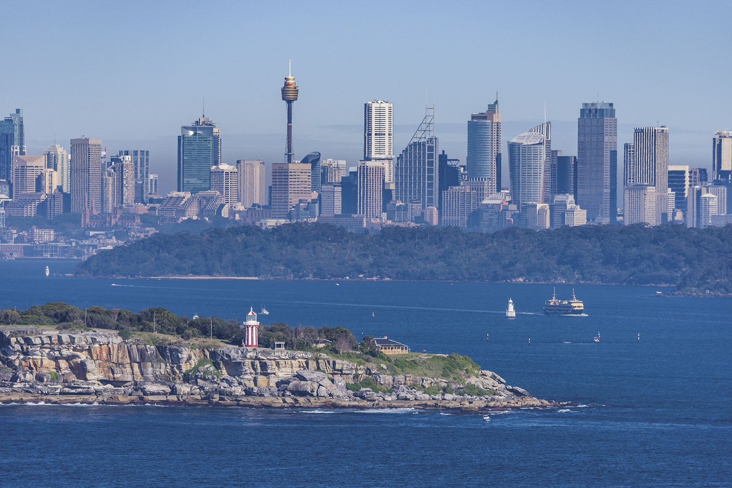 Views from North Head, Manly of the Sydney skyline including Vaucluse and Bradleys Head in Mosman