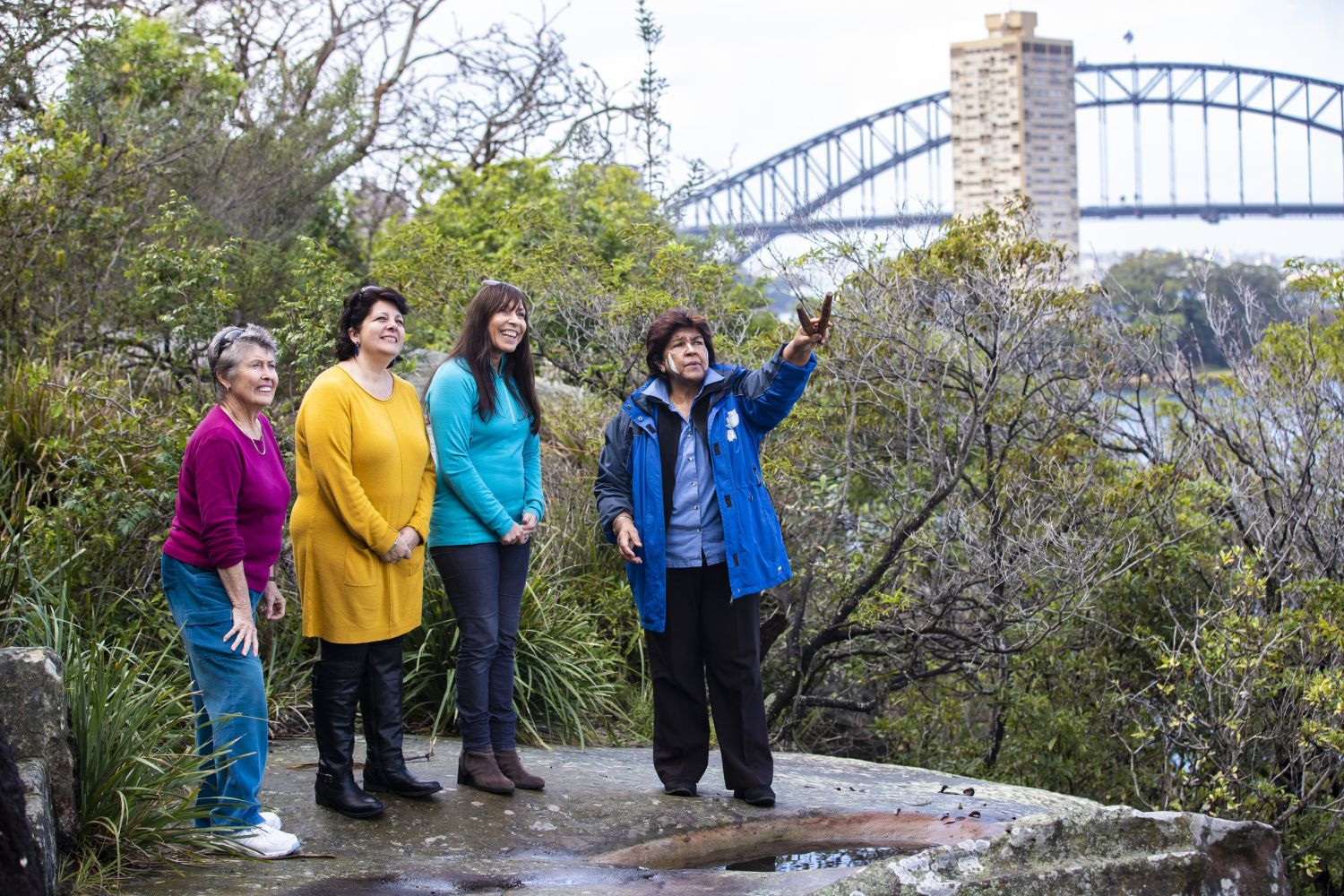 Women enjoying a guided Aboriginal cultural tour with Margret Campbell of Dreamtime Southern X in Sydney