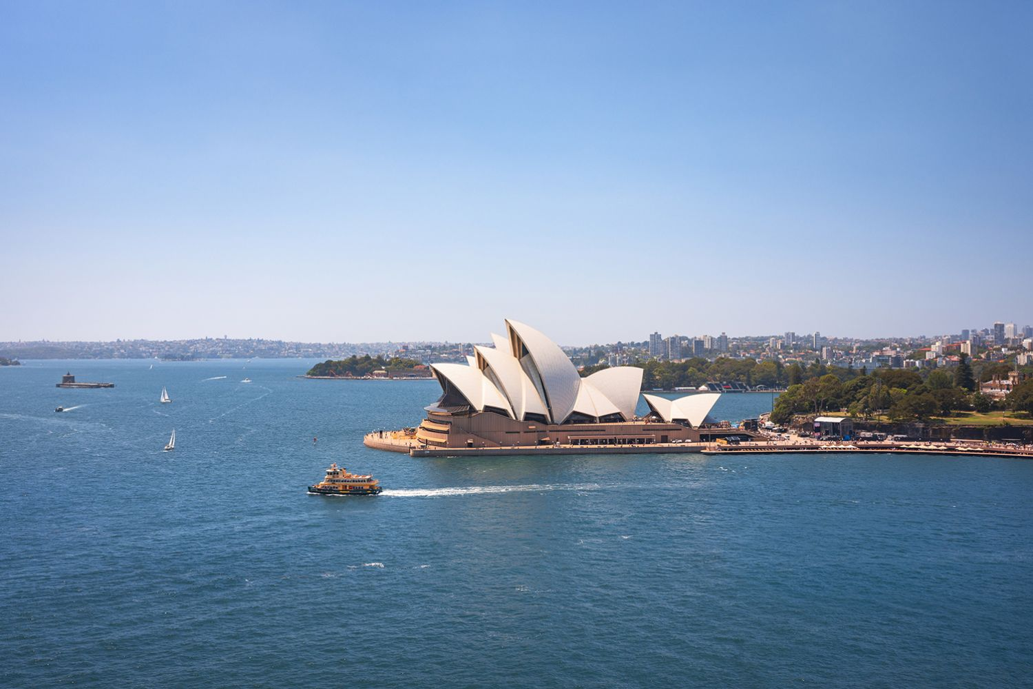 Ferry passing the Sydney Opera House on a summer's day, Sydney