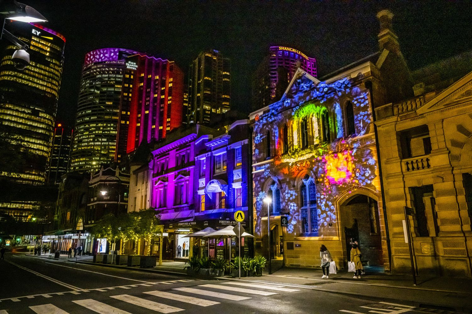 The interactive Bug|Hunt light projection located at Nurses Walk, The Rocks during Vivid Sydney 2019, Sydney City