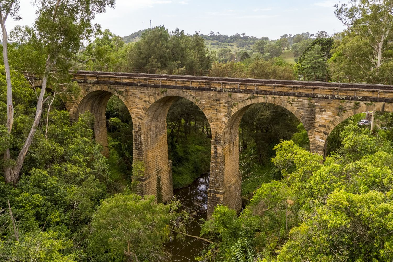 Aerial overlooking the Picton Railway Viaduct, Sydney west