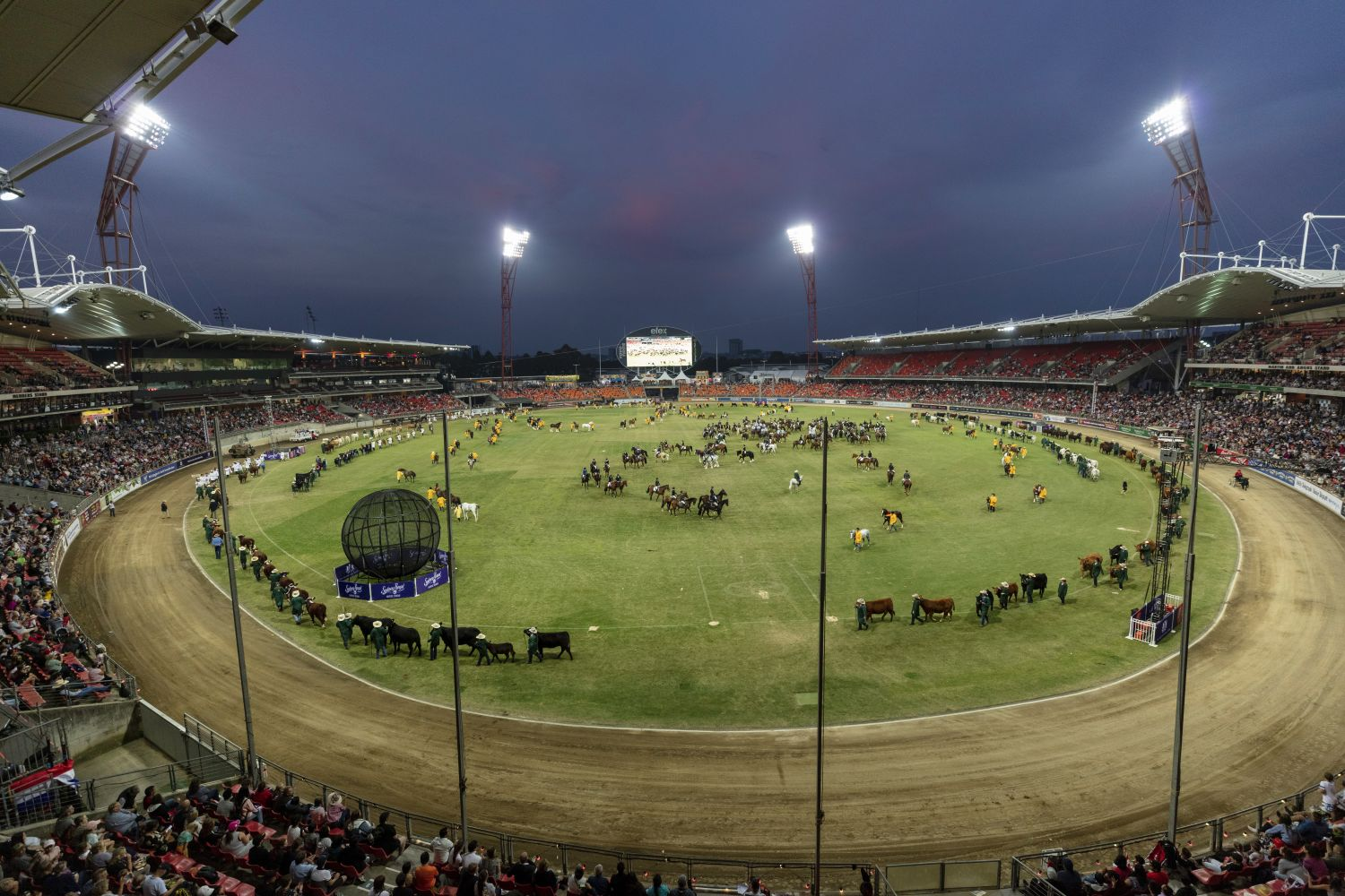 Crowds enjoying the Grand Parade entertainment at the 2019 Sydney Royal Easter Show, Sydney Showground at Sydney Olympic Park, Sydney west