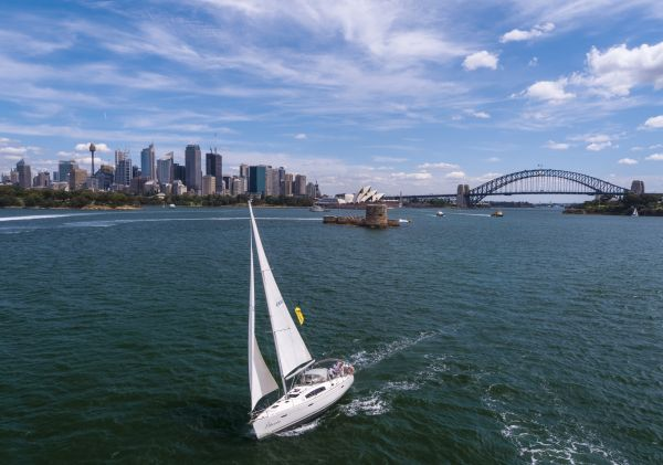 Sailing a chartered yacht on Sydney Harbour