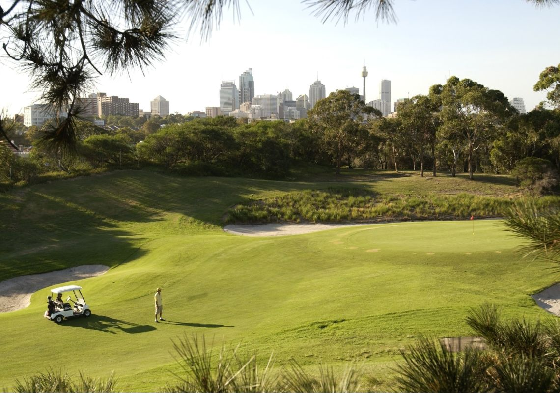 Golfer eyeing the green at Moore Park Golf, Sydney