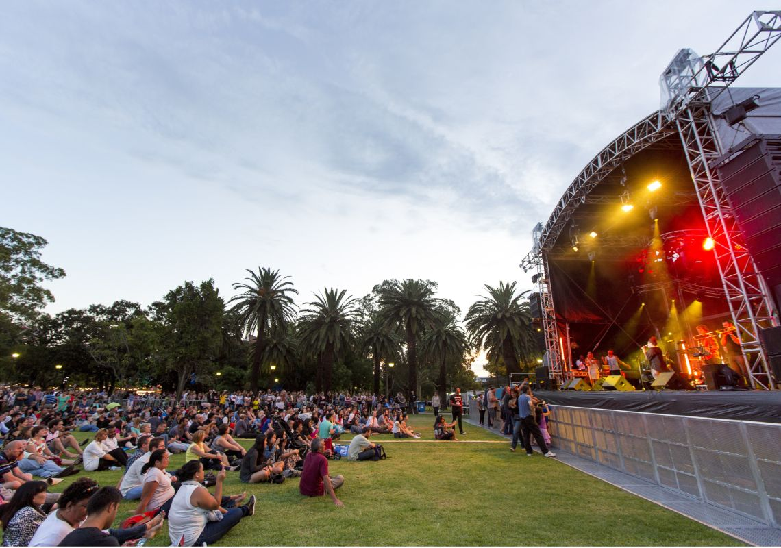 A Sydney Festival music concert in Prince Alfred Park, Parramatta