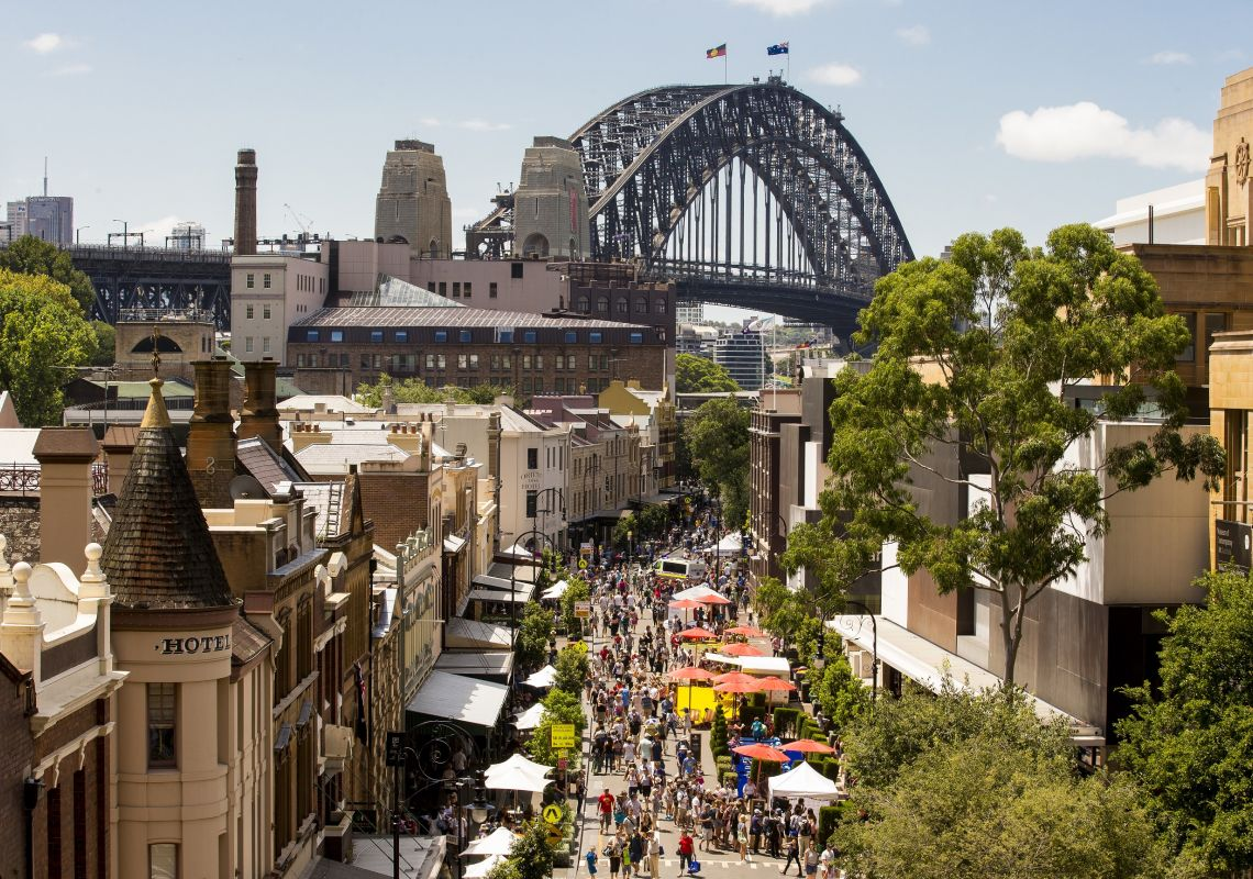 Markets set up in The Rocks against the backdrop of the Harbour Bridge, Sydney