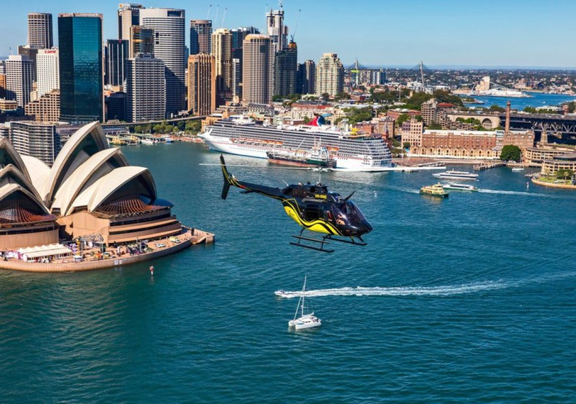 Flying over scenic Sydney Harbour and Opera House with Heli Experiences, Mascot