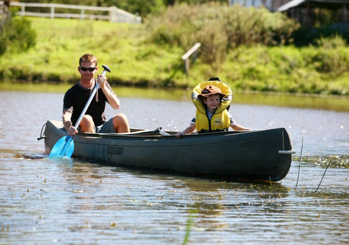 Canoeing on Crocodile Creek at Mowbray Park Farm Stay, Picton