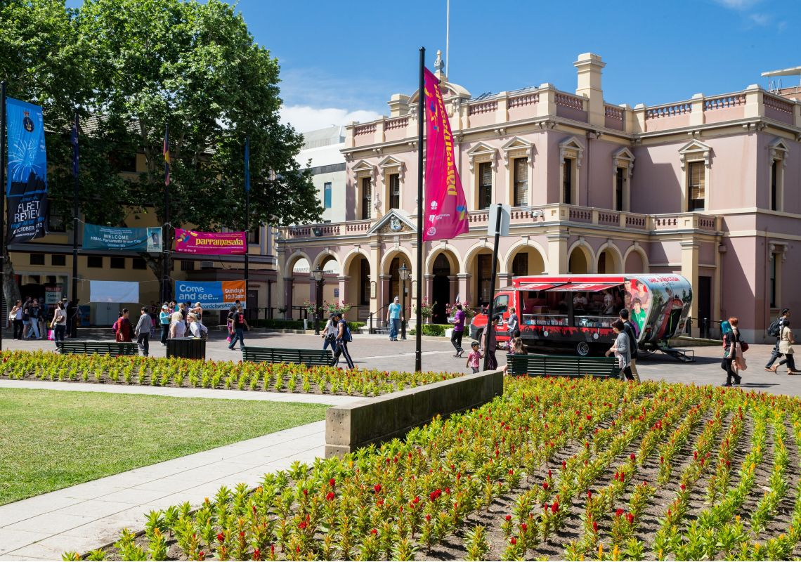 Centenary Square and heritage-listed Parramatta Town Hall, Parramatta