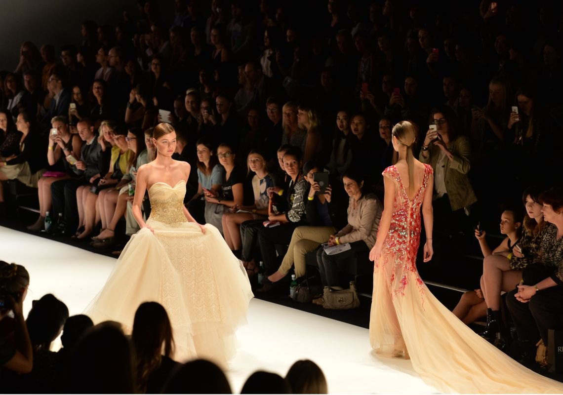 Runway models wearing gowns, Mercedes-Benz Fashion Week Australia