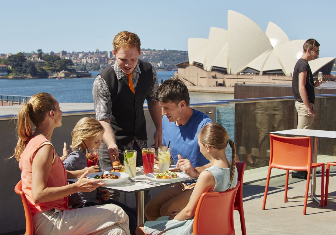 Family dining at the Museum of Contemporary Art (MCA) Cafe in The Rocks