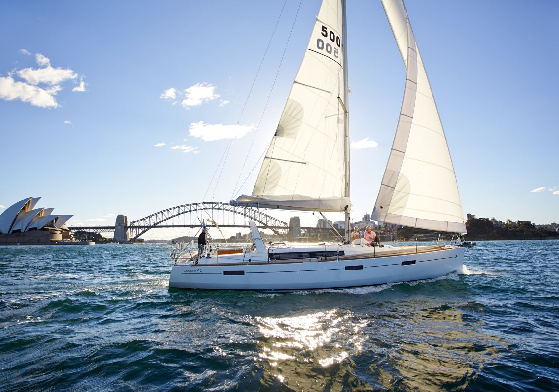 Friends sailing on Sydney Harbour, Australia