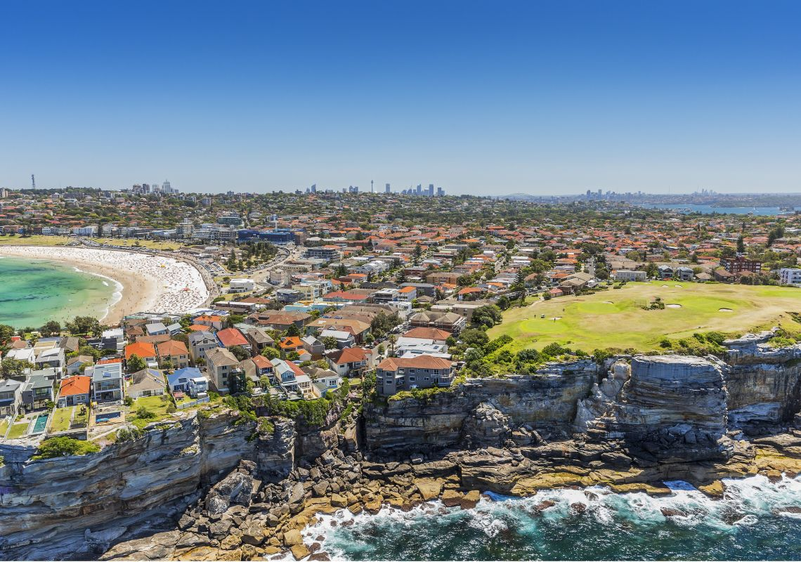 Aerial view of Bondi Golf Course, right, and Bondi Beach