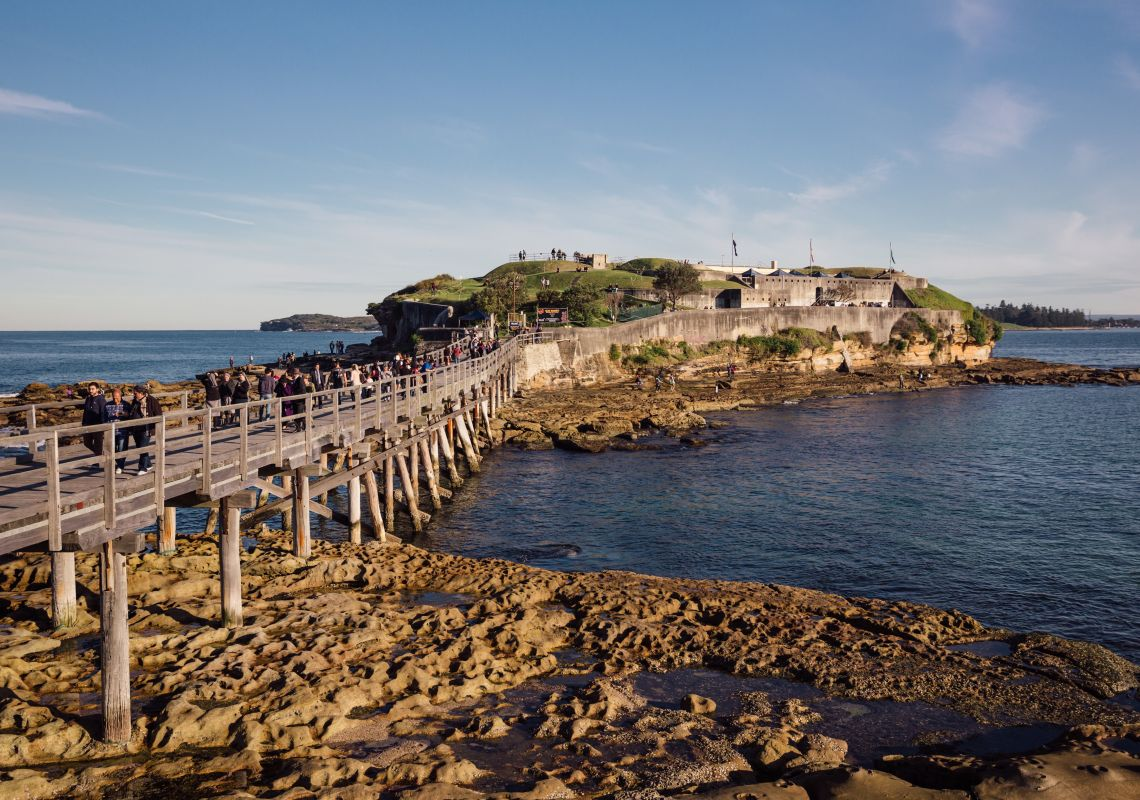 Crowds visiting Blak Markets at Bare Island, La Perouse