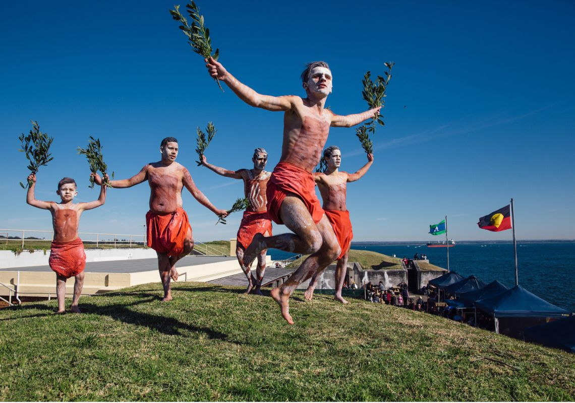 Aboriginal cultural dance and music performance at Blak Markets, Bare Island, La Perouse
