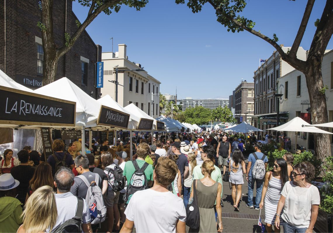 The bustling Foodie Markets, in The Rocks on Friday
