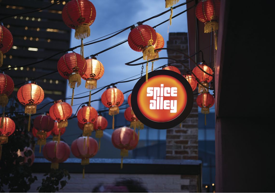Chinese lanterns adorning Spice Alley in Chippendale