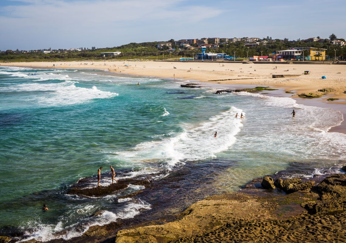 People enjoying Maroubra Beach, Maroubra