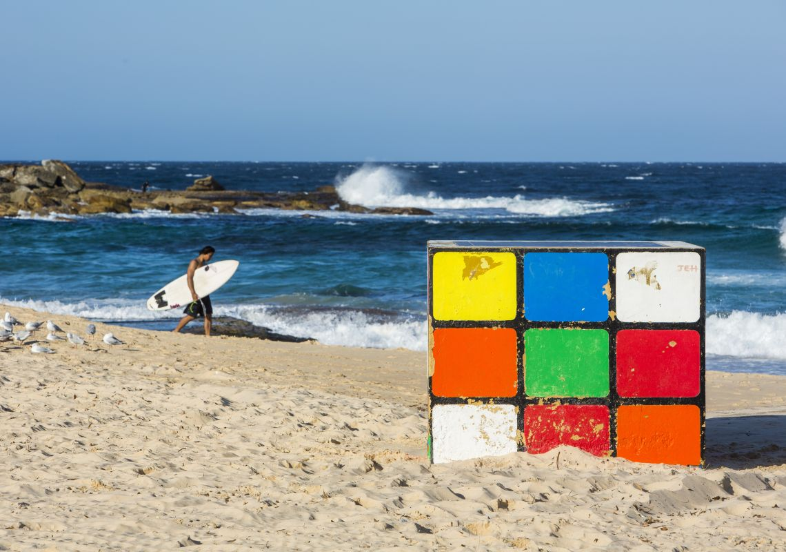 Rubik's Cube sculpture at Maroubra Beach, Maroubra
