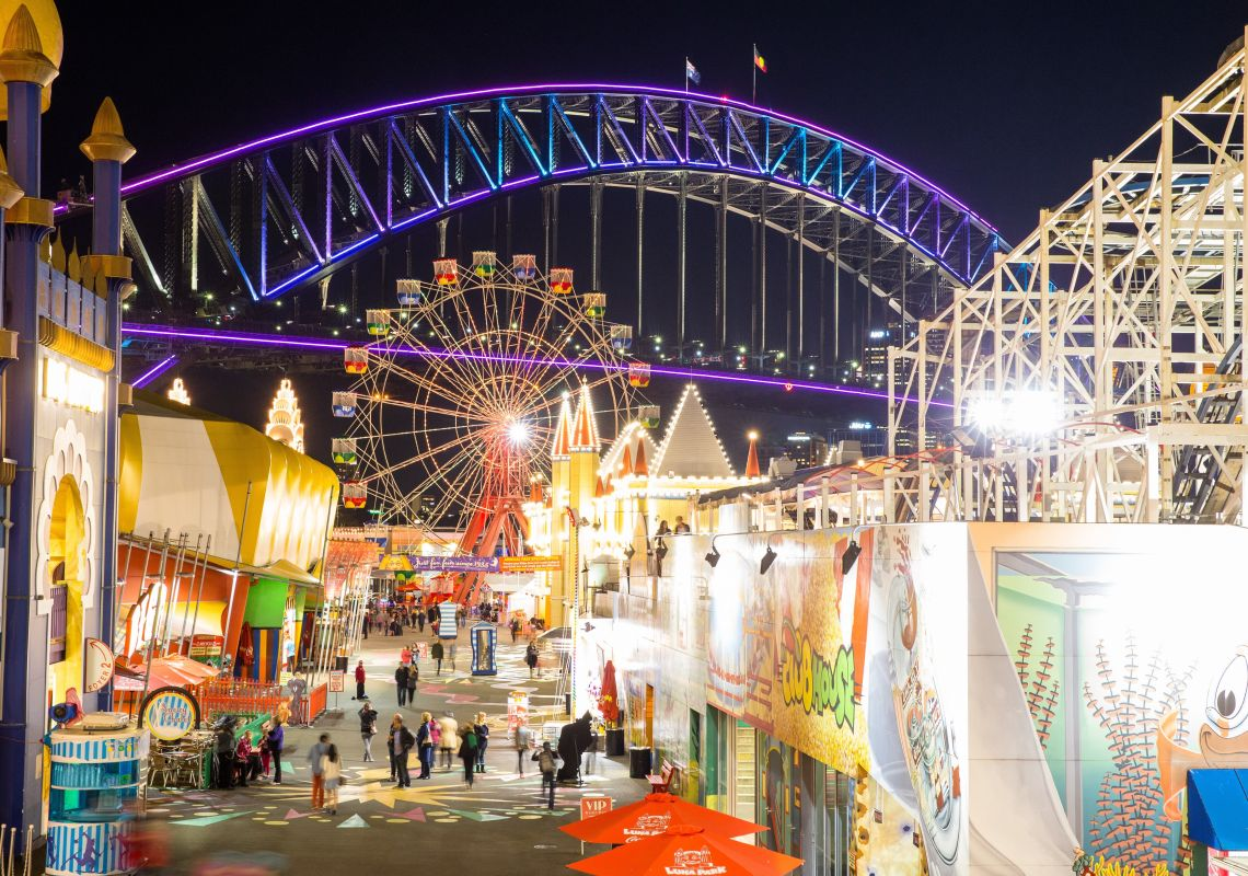 Luna Park and the Sydney Harbour Bridge during Vivid Sydney