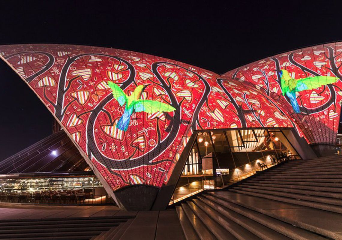 Badu Gili on the sails of the Sydney Opera House