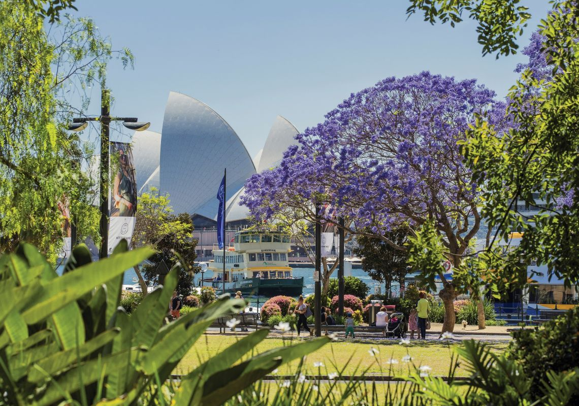 A pretty park on the waters edge at Circular Quay, Sydney