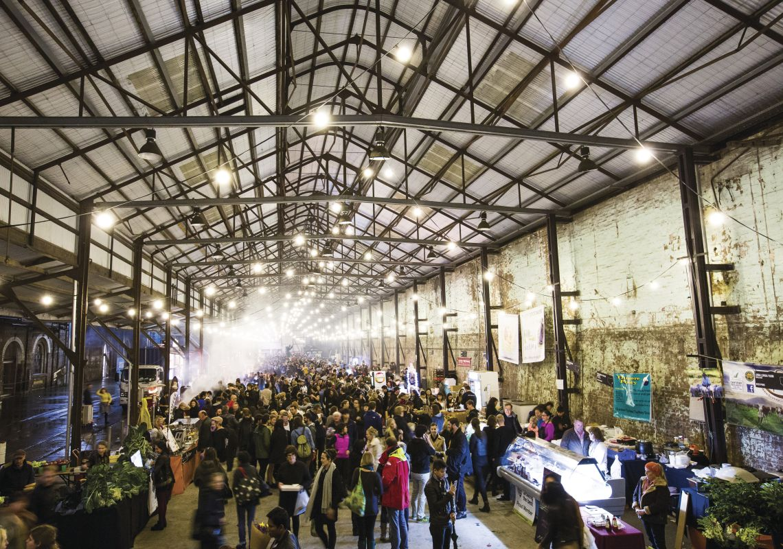 Crowds visiting The Night Markets in the Carriageworks, Eveleigh