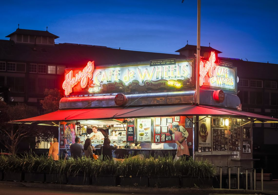 Harry's Cafe de Wheels selling its famous pies in Woolloomooloo, Sydney