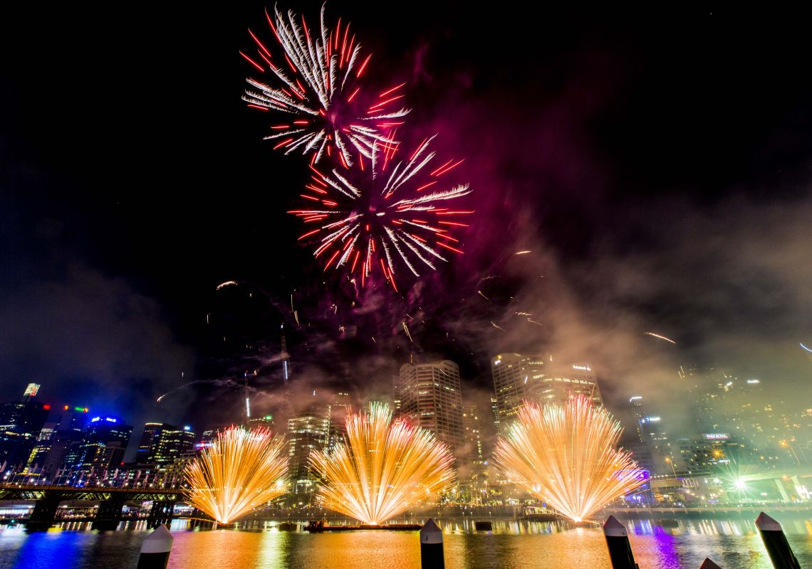 New Year Fireworks Vividly Exploding At Darling Harbour, Sydney