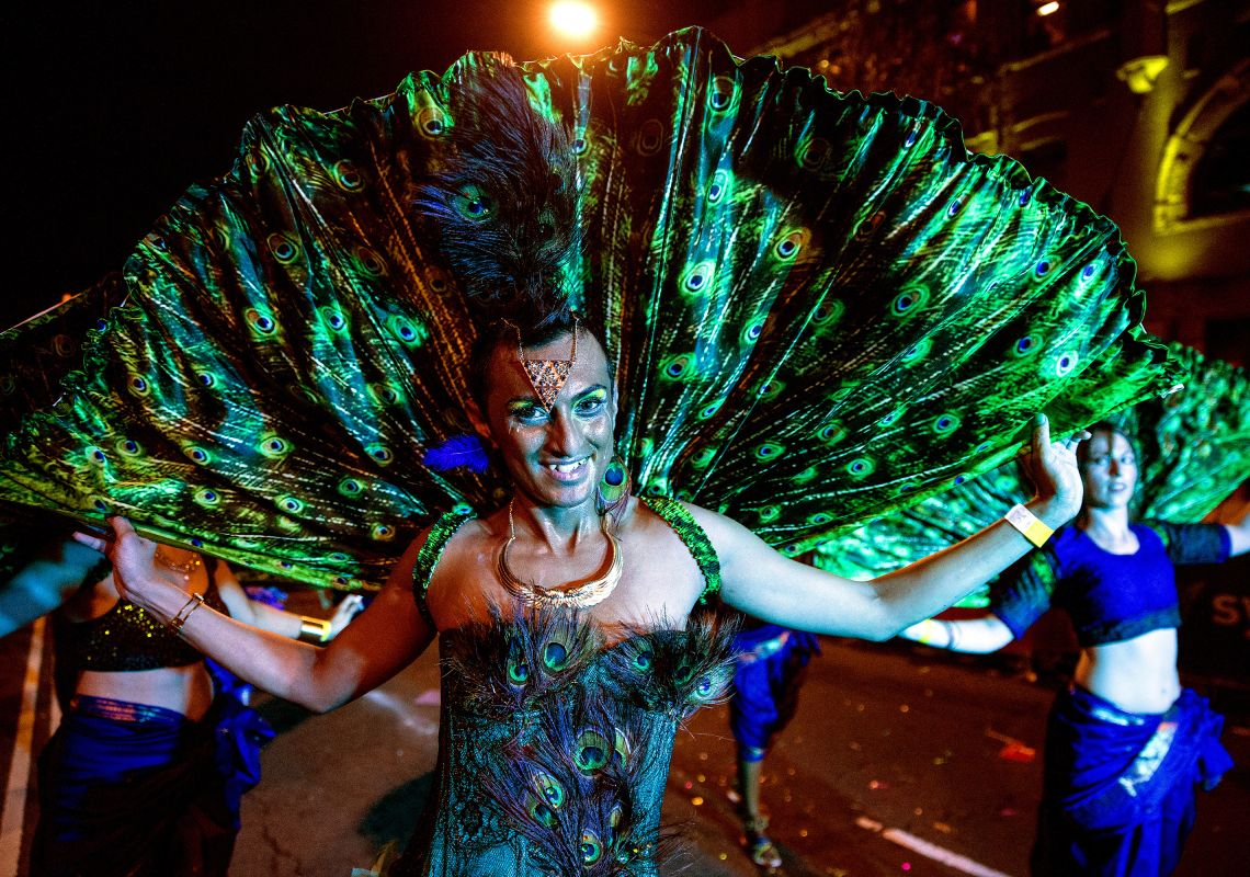 Peacock costume at the Sydney Gay and Lesbian Mardi Gras parade, Darlinghurst