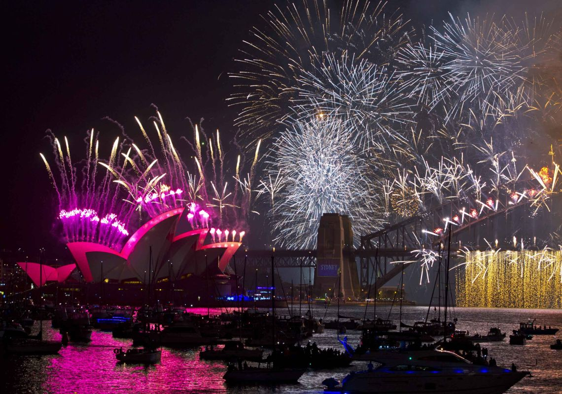fireworks ring in the new year on sydney harbour australia
