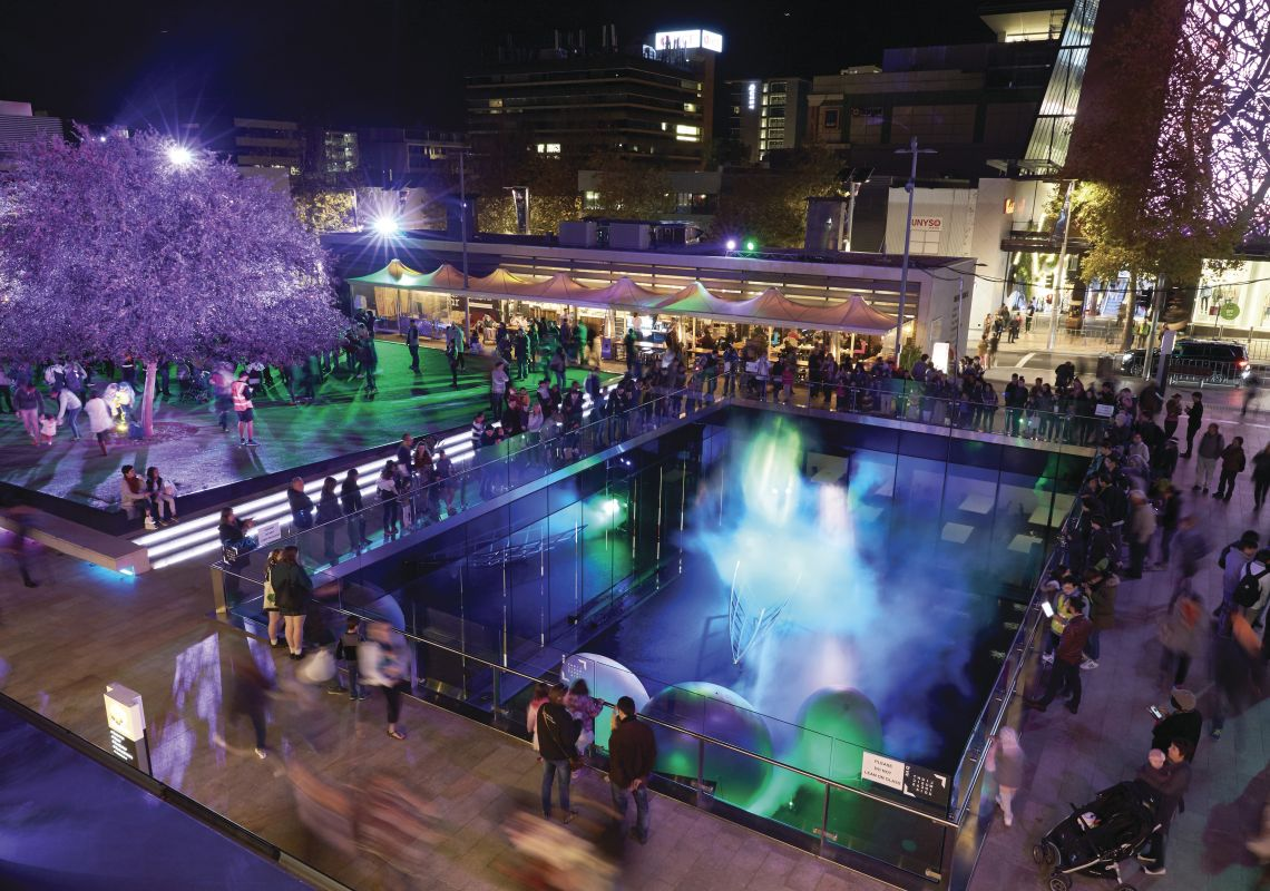 Gondwana Light Lab projection and installation at Chatswood Concourse
