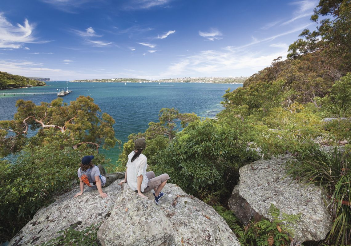 People enjoying lookout over Sydney Harbour, from the Manly scenic walkway