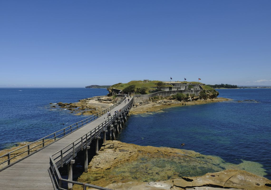 View across footbridge to the historic Bare Island, Kamay Botany National Park