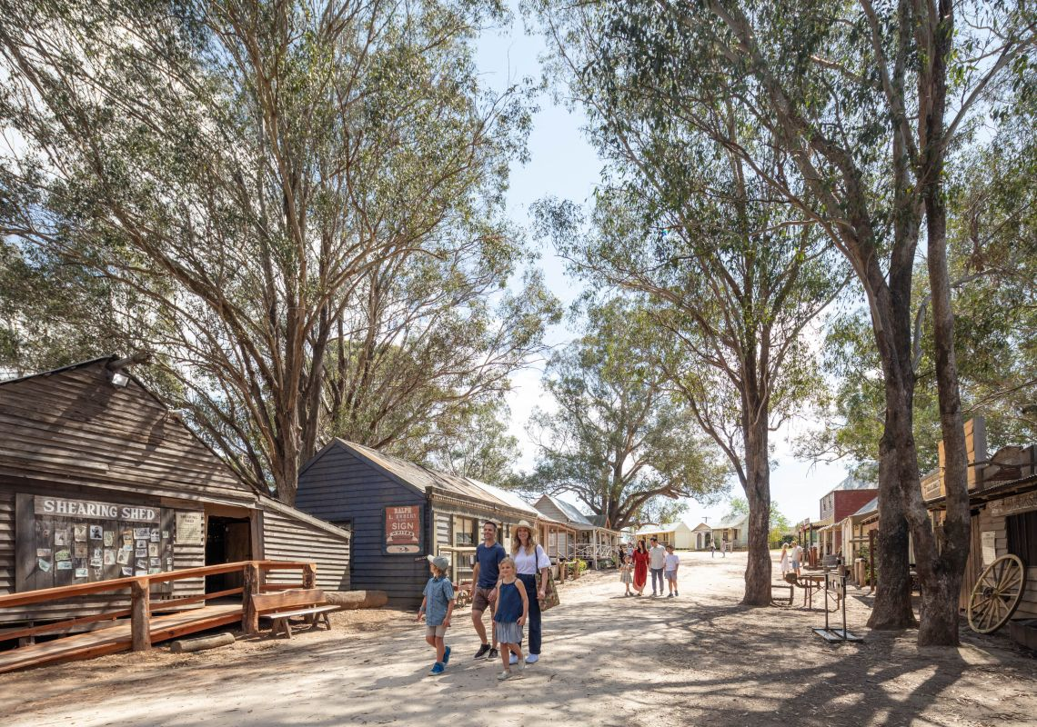 Historic storefronts at the Australiana Pioneer Museum in Wilberforce