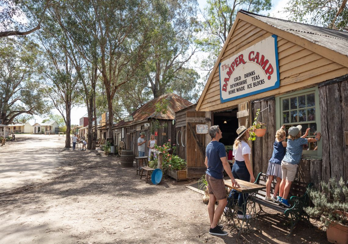 Family exploring the Australiana Pioneer Village