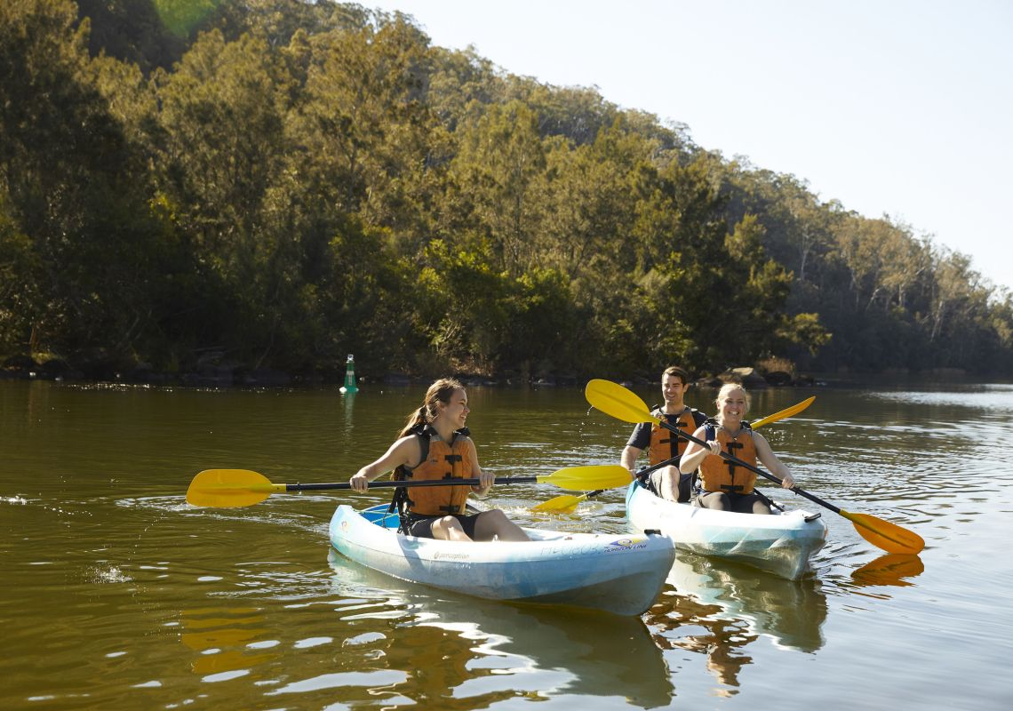 Friends enjoying a day of kayaking on the neapean River, Penrith