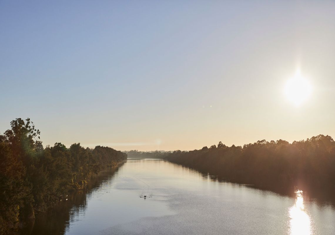 Sun rising over the Nepean River, Penrith in Western Sydney