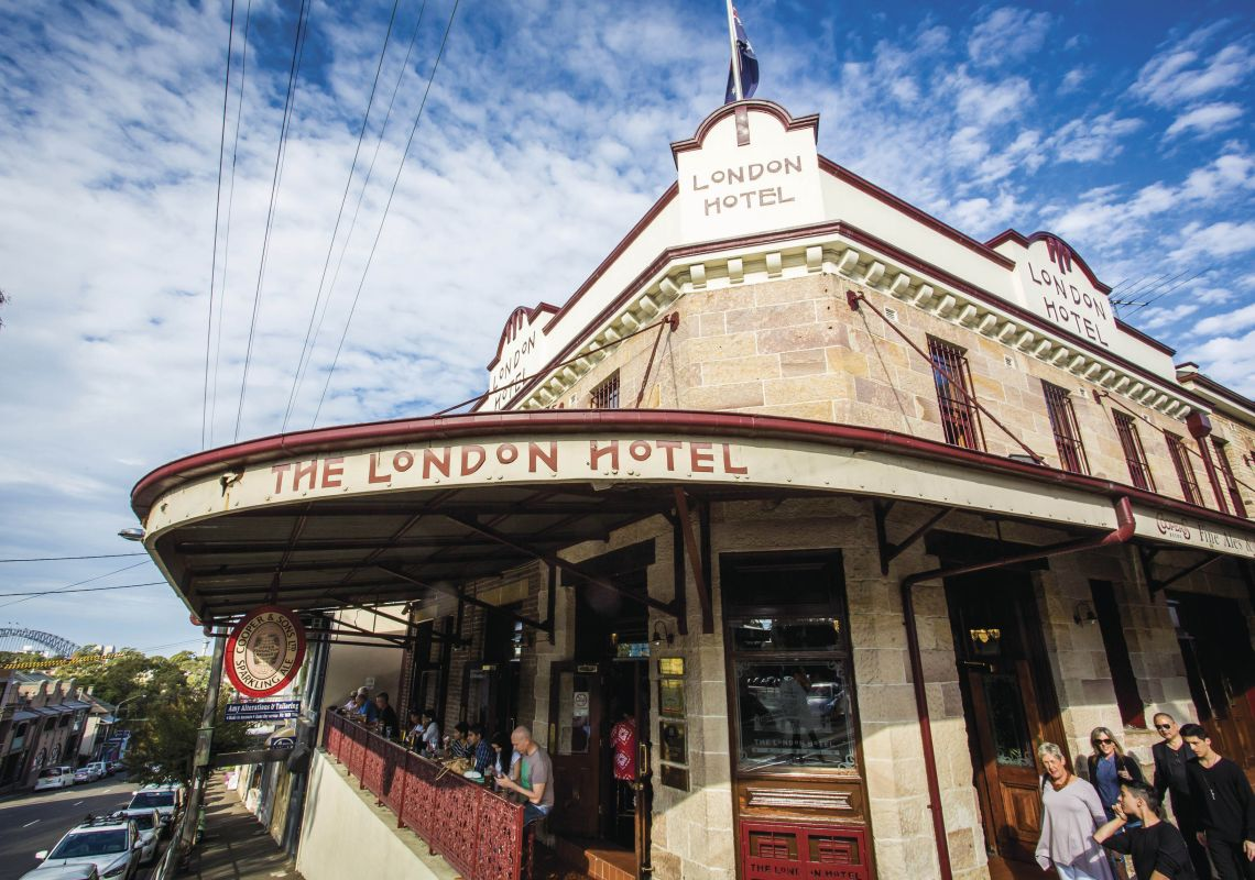 Exterior view of the historic London Hotel in Balmain