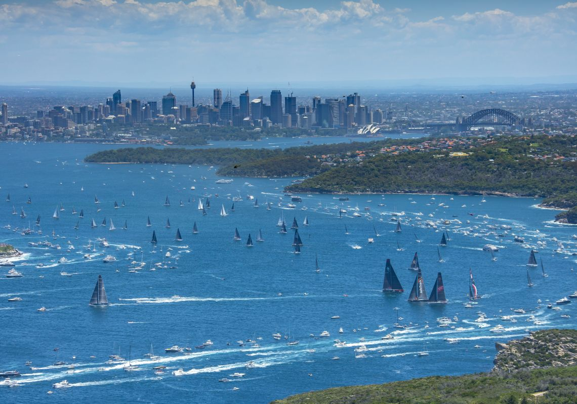 Aerial overlooking the start of the 2018 Sydney to Hobart Yacht Race in Sydney Harbour