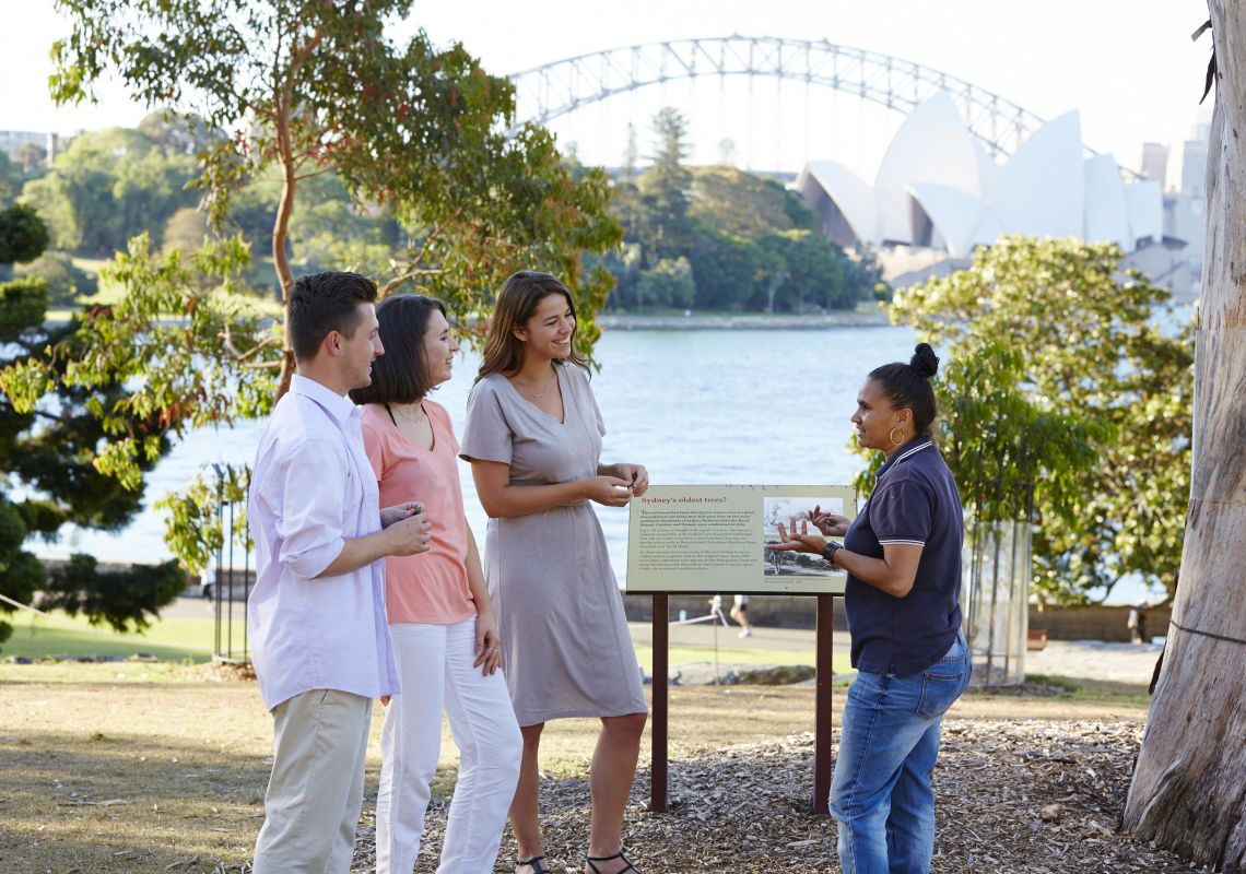 Friends enjoy a tour in the Royal Botanic Gardens, Sydney
