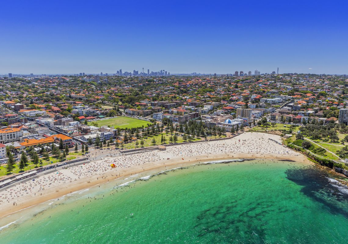 Aerial of Coogee beach and eastern coastline, Sydney