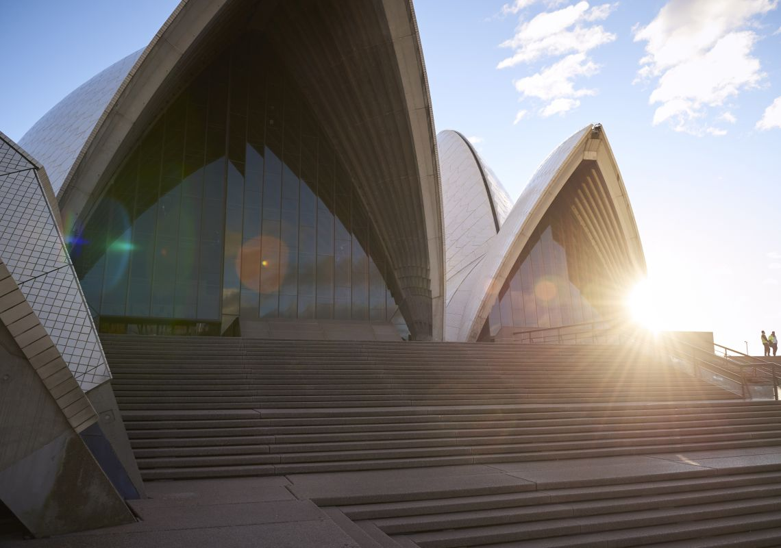 Sun rising over the Sydney Opera House