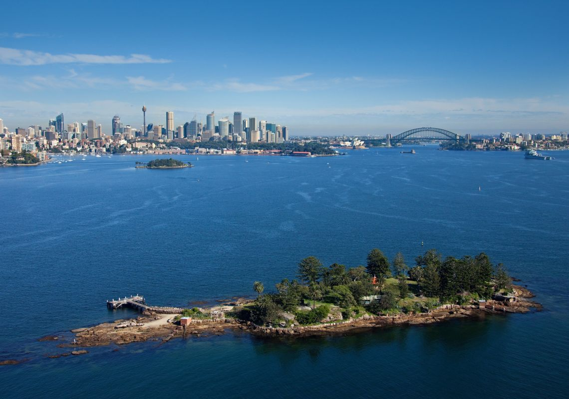 Aerial of view of Shark Island on Sydney harbour in the morning in Sydney Harbour, Sydney City