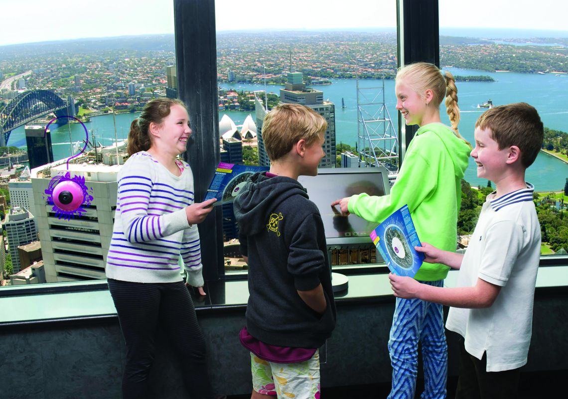 Kids during school holidays at Sydney Tower Eye in Sydney city, Sydney