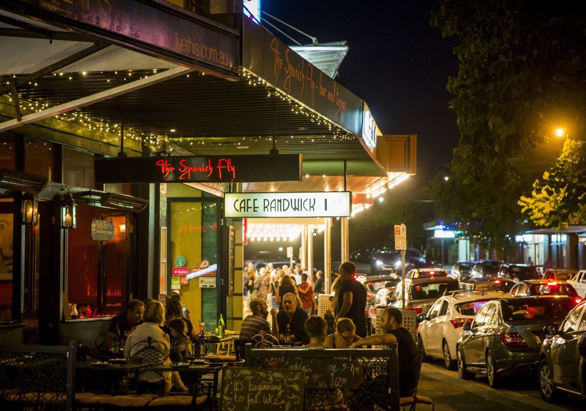 People dining outside at The Spanish Fly, The Spot in Randwick, Sydney East