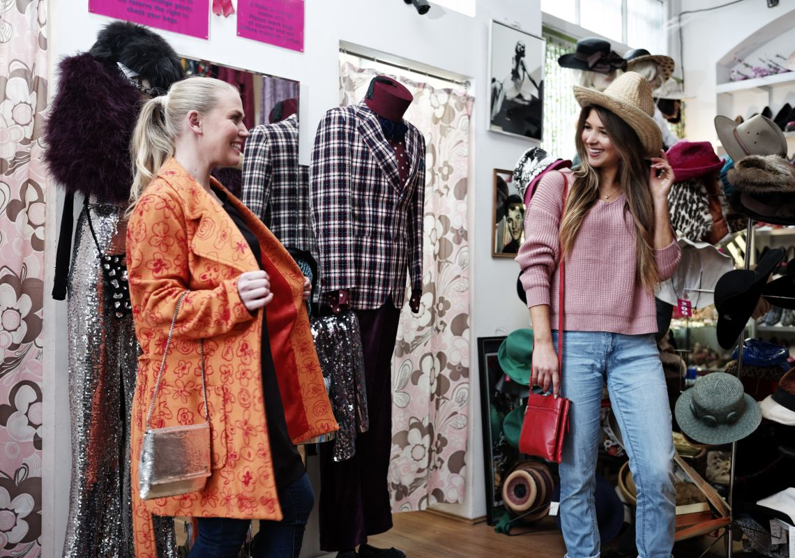 Friends enjoying a day of shopping at Zoo Emporium in Surry Hills, Inner Sydney